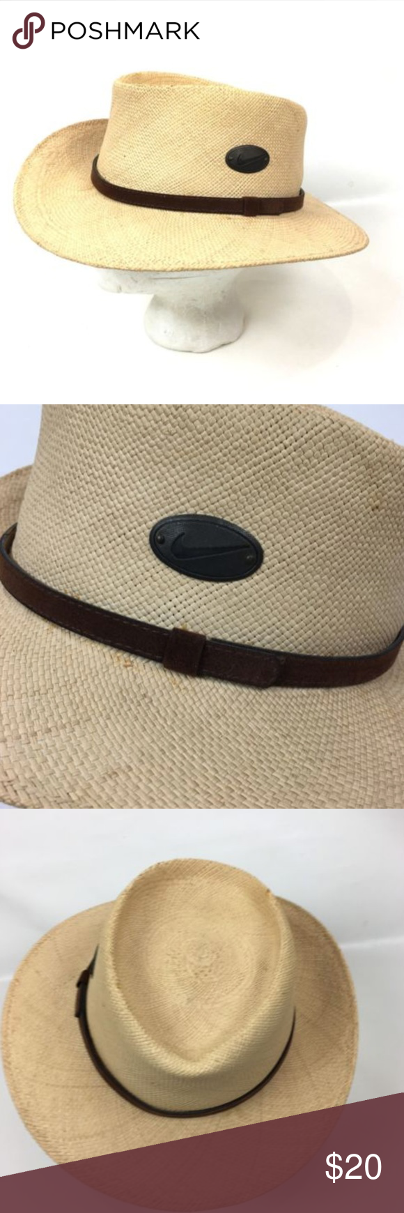 Nike Golf 100% Natural Panama Straw Brim Fedora Nice vintage condition.  Some light wear f933fc914a6