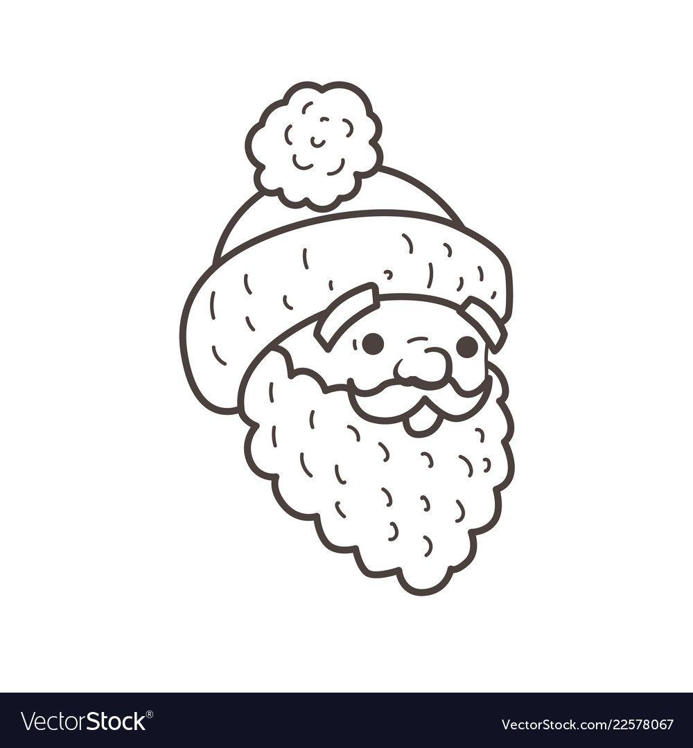 Santa Head Beard And Cap Coloring Page Royalty Free Vector