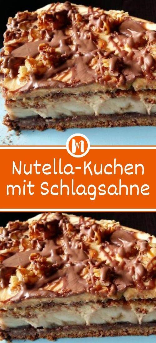 Nutella-Kuchen mit Schlagsahne  #leckerekuchen