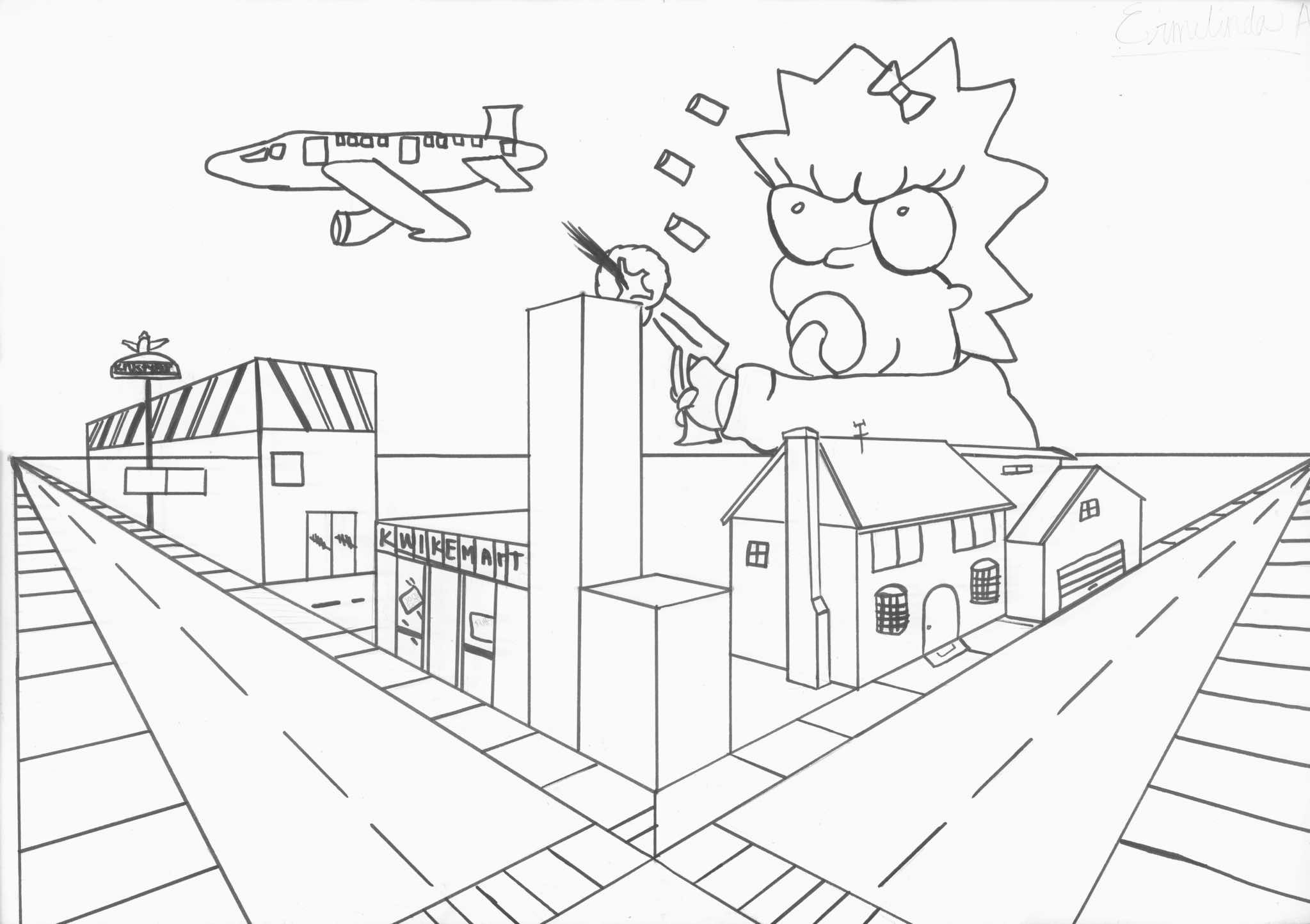 Simple Point Perspective Drawing Two Point Perspective Yun