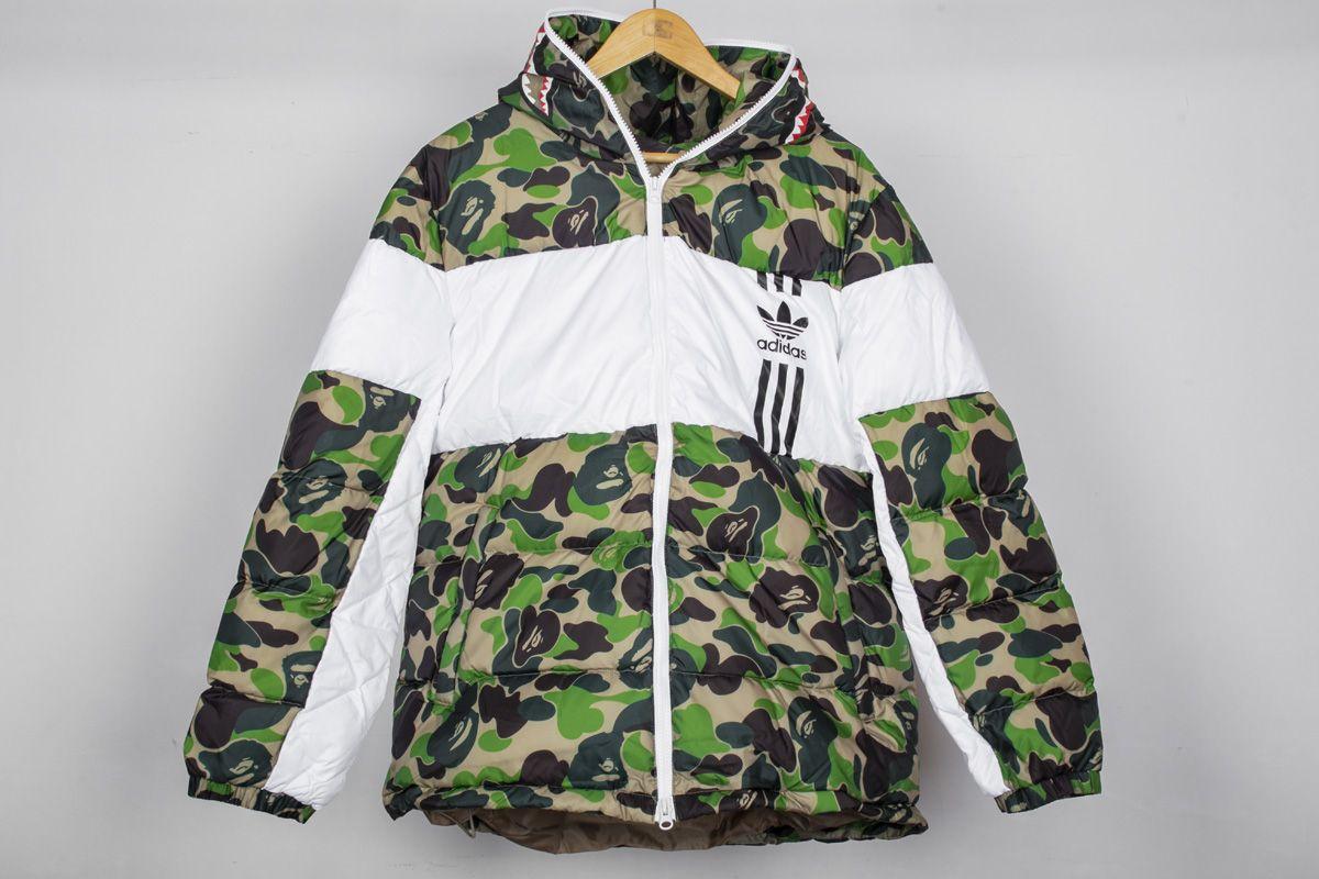 2017cb55c5df Bape x Adidas ABC Camo Firebird Shark Puffer Jacket Green