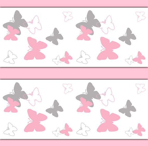 Soft And Elegant Gray And Pink Nursery: Pink And Grey Gray Butterfly Wallpaper Border Wall Decals