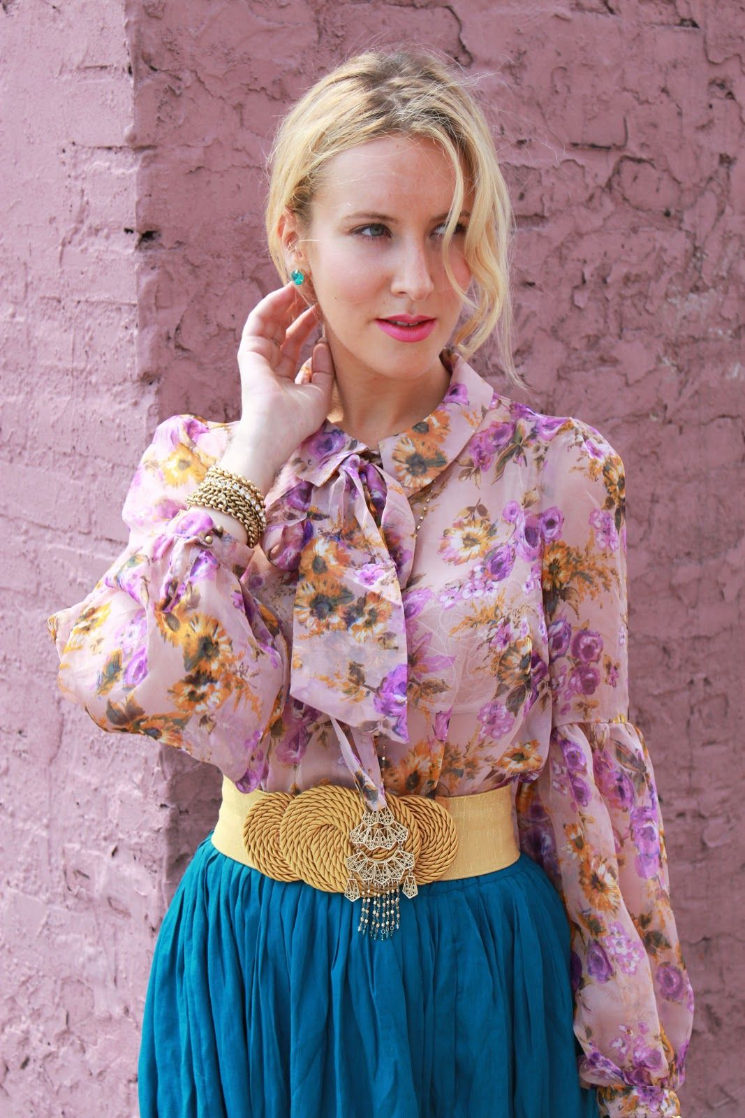 Floral print blouse with billowy sleeves, teal maxi skirt
