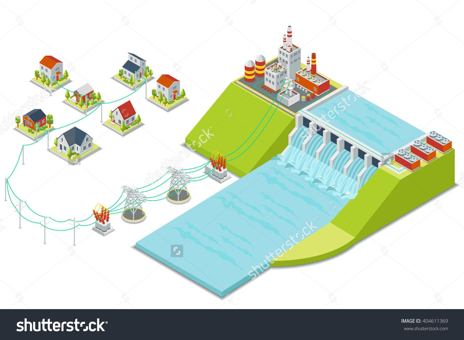 hydro power plant 3d isometric electricity concept energy electric  [ 1500 x 1101 Pixel ]