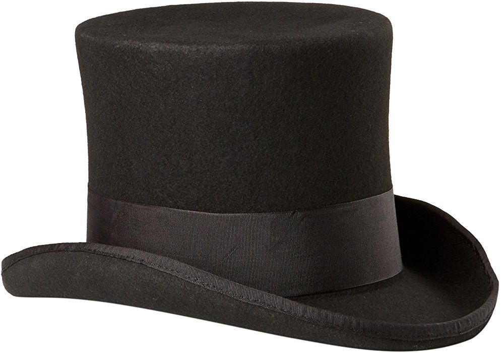 303a9453 Scala Men's Wool Felt Top Hat, Black, Large at Amazon Men's Clothing store:  Costume Headwear And Hats