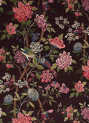 GP & J Baker: the arbiter of British taste, the interior decorators to Mulberry.... Hydrangea Bird - Original Aubergine/Pink