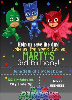 Pj Masks Birthday Invitation Multiple Party Invitations FREE