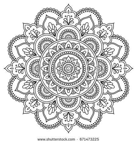 Circular pattern in the form of a mandala. Henna tatoo mandala ...