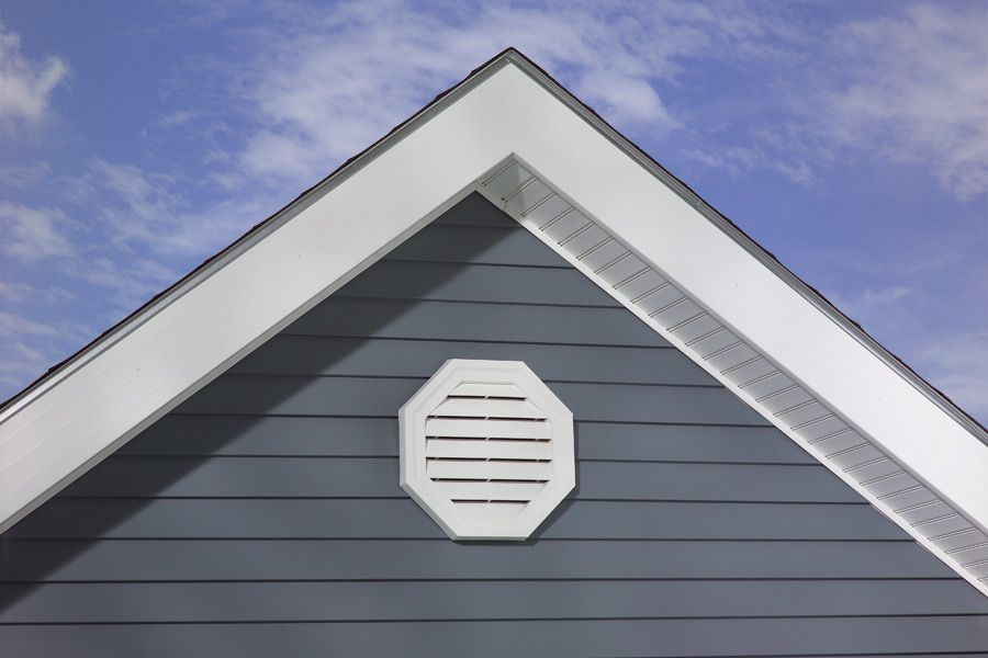 Faux round vent exterior end towards garage master br for Gable garage