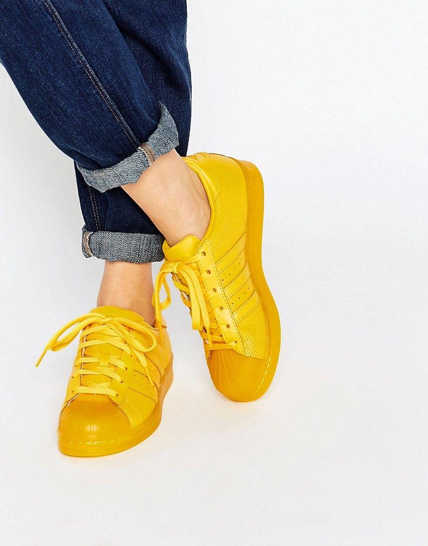 adidas superstar super colore giallo scarpe, scarpe originali.
