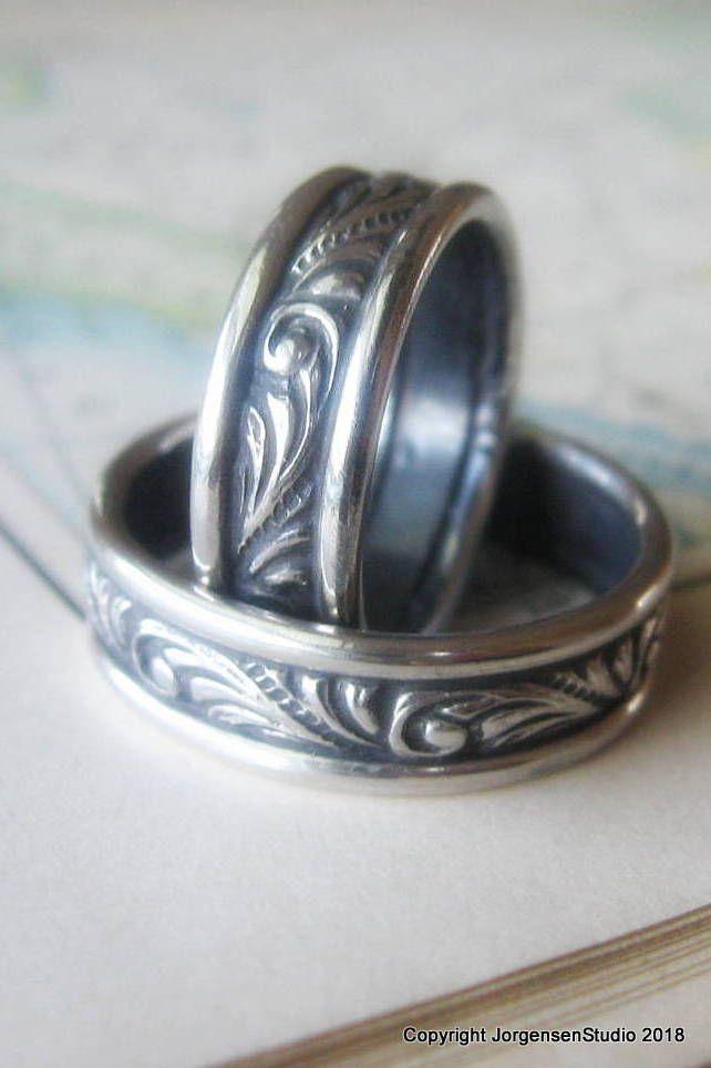 Unique Matching Wedding Band Set Art Nouveau Wedding Bands Etsy Vintage Style Wedding Rings Art Nouveau Wedding Band Antique Wedding Rings
