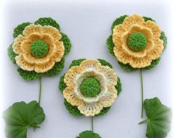 Crochet Applique  Crochet Flowers Corsage Brooch by CraftsbySigita