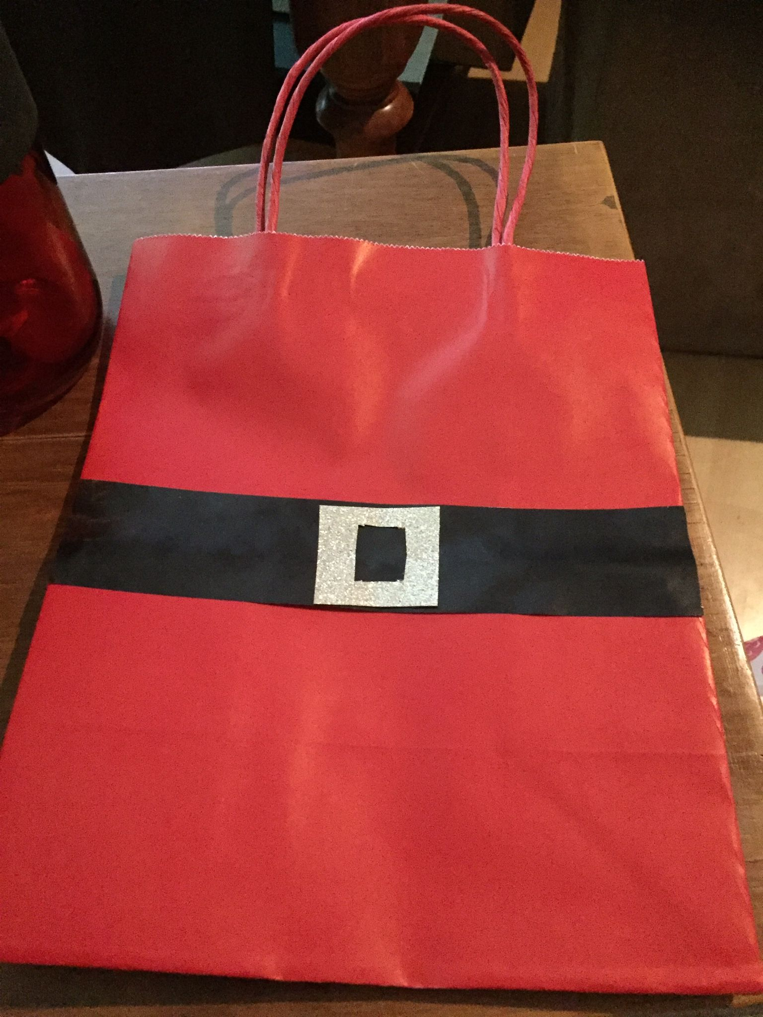 Homemade santa bags very quick to make but effective gift