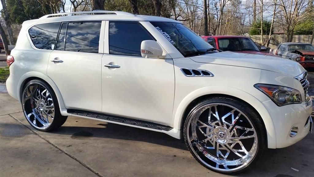 Infiniti After Modification And Or Restoration By Rucci Wheels Chariotz Chrome Wheels Infinity Suv Custom Muscle Cars