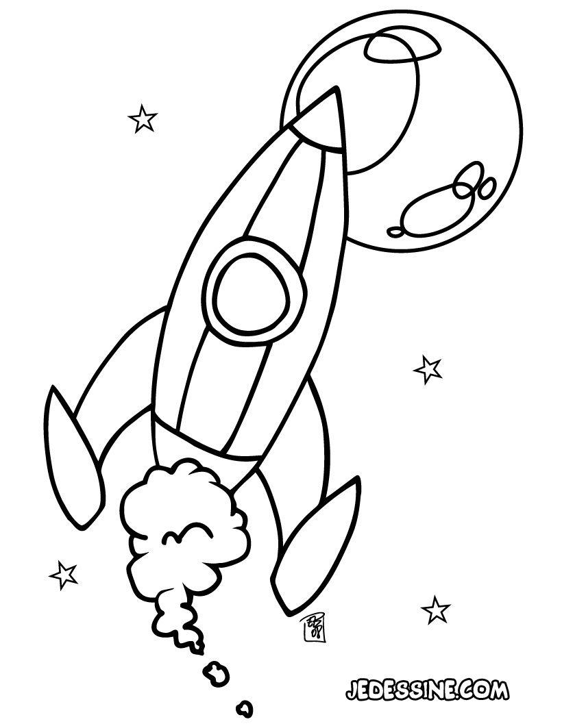 Coloriage d une fusée spatiale