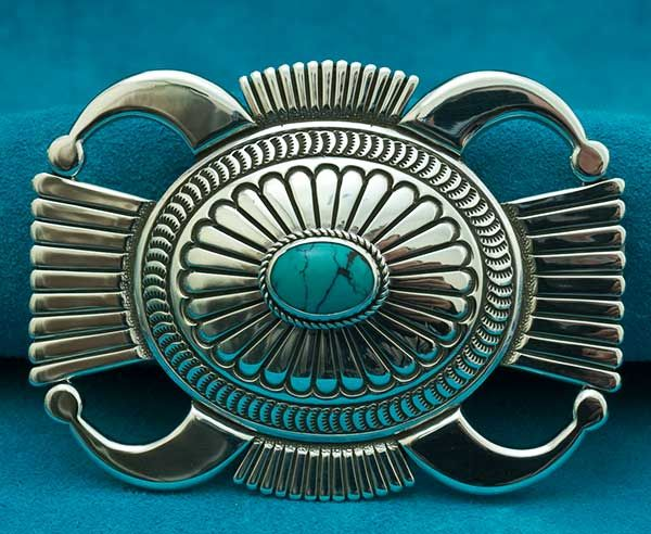 Thomas Curtis Hand Carved Silver Turquoise Belt Buckle Made from heavy Gauge Silver with Deep Repousse