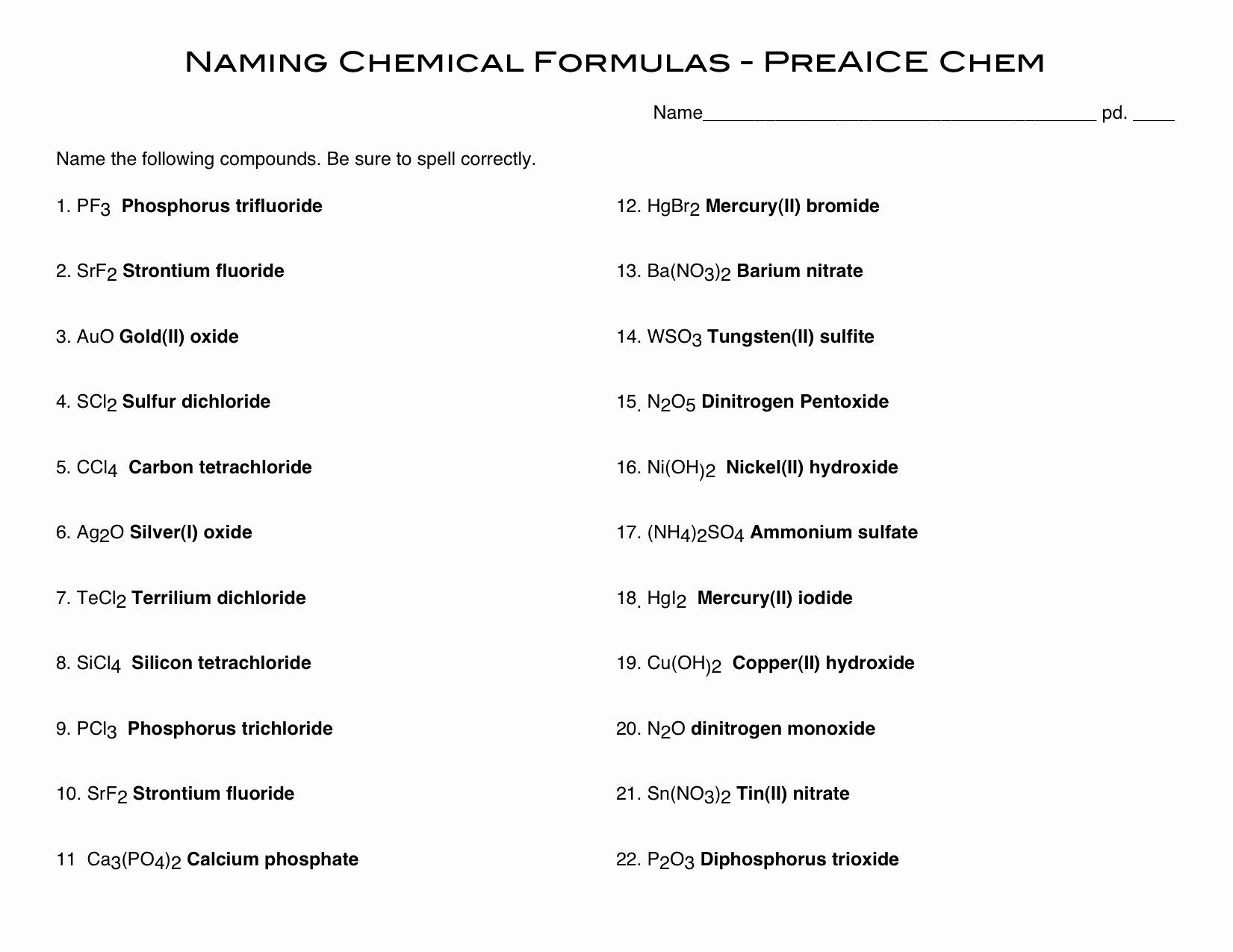 50 Naming Chemical Compounds Worksheet Answers in 2020