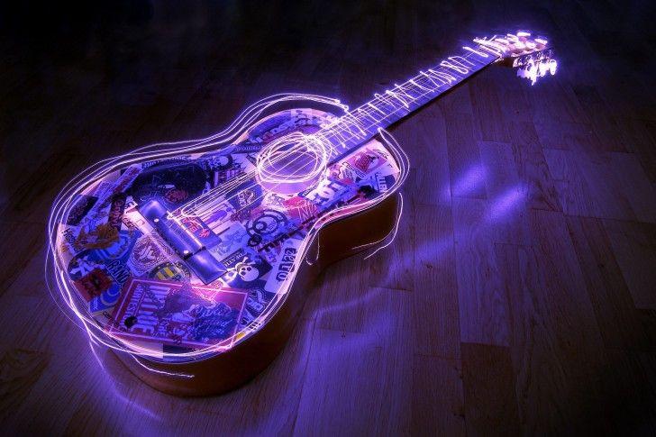 Lighted Guitar 3d Desktop Hd Wallpaper Wallpapers Light Painting Photography Light Painting Guitar Art