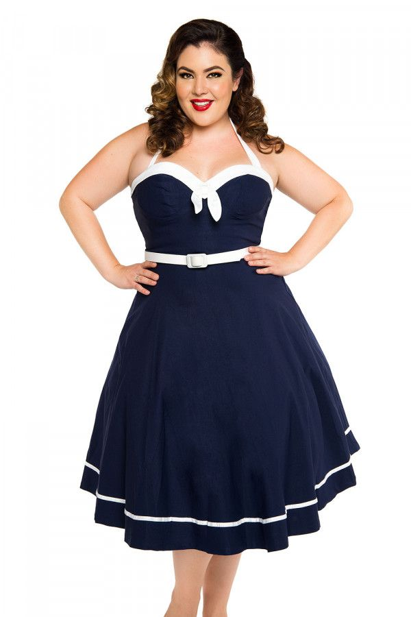 41838f1b648 Sailor Swing Dress in Navy with White Trim by Pinup Couture ...
