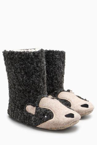 99beac1fd722 Black Badger Slipper Boots