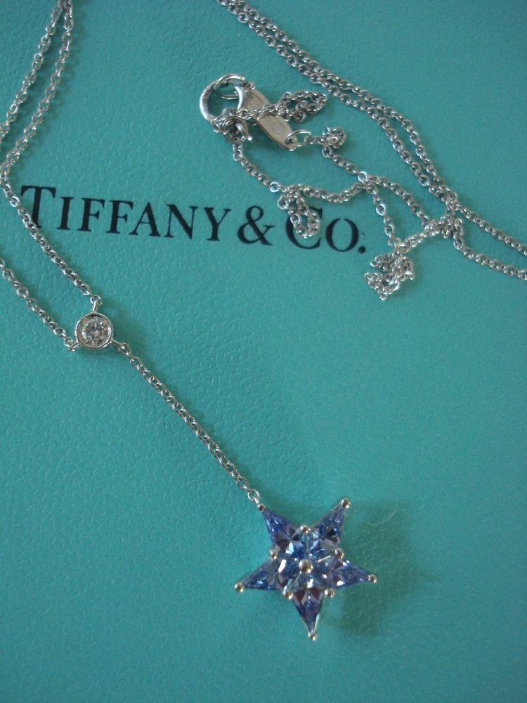 fa8efa56a TIFFANY & CO BLUE SAPPHIRE DIAMOND STAR NECKLACE PLATINUM MINT ...