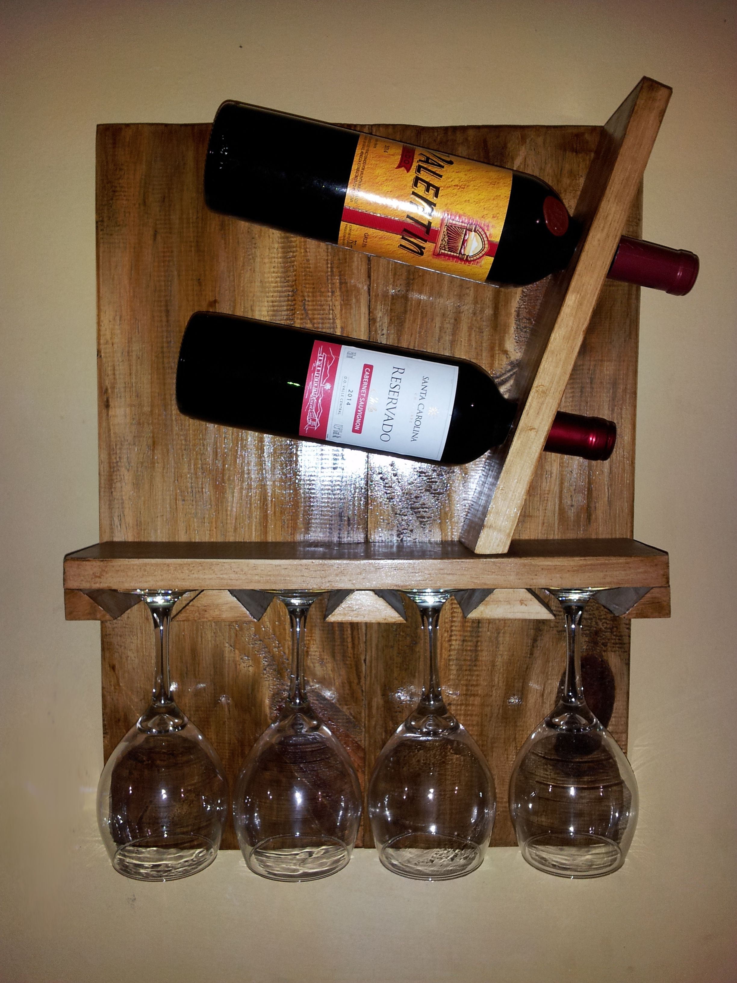 Porta vinos con porta copas wine diy proyectos for Bar portatil madera