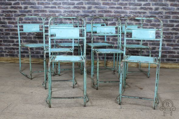Stacking chairs in a variety of colours original vintage #industrial #stylish #turquoise