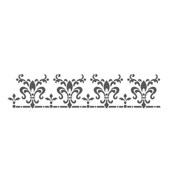 Wall Border Stencils Pattern Laetitia Reusable Template For Etsy Stencil Pattern Stencils Wall Stencil Fabric