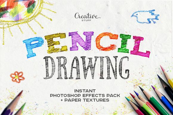 Pencil Drawing Photoshop Effects by Creative Stuff on Creative Market