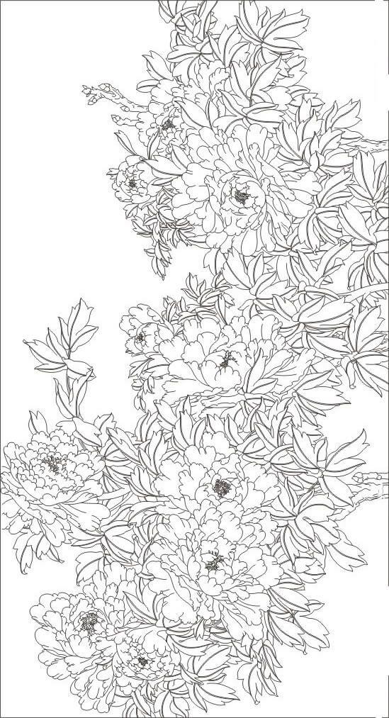 рисунок пионы | 白描 | Pinterest | Seda, Pintura de seda y Patrones ...