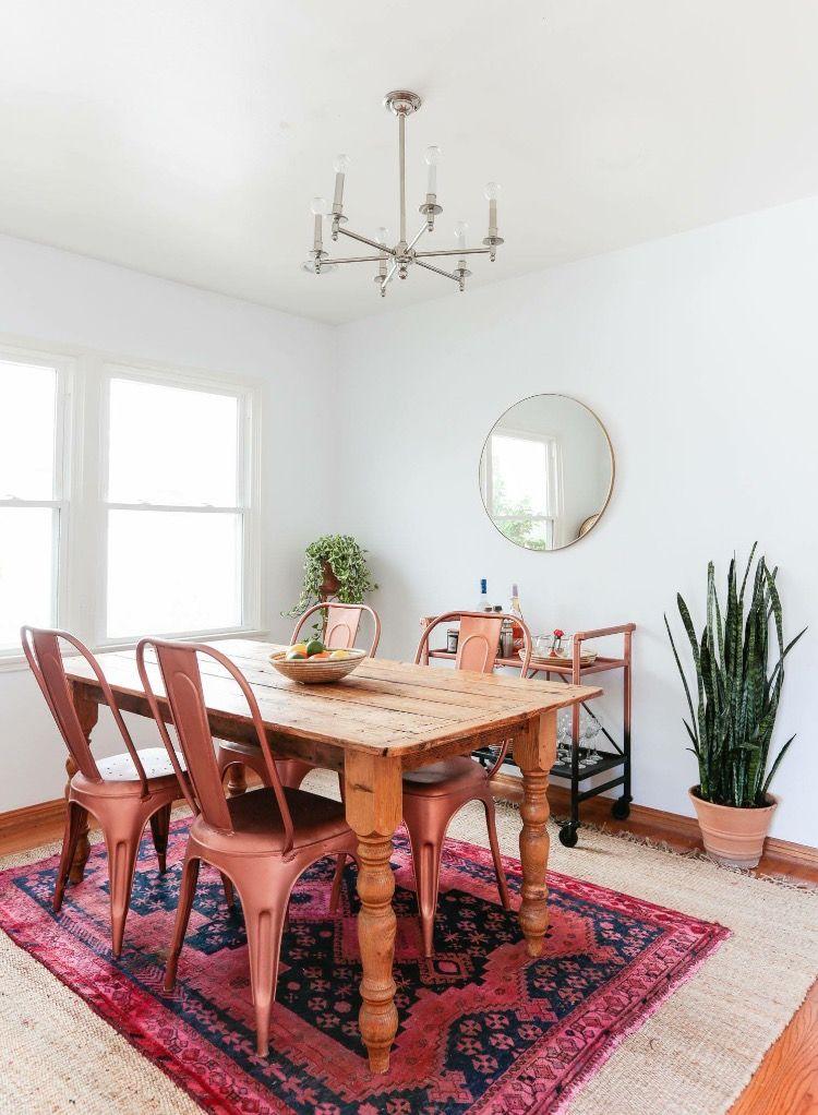 Light Jute Under Bright Rug Pink Dining Rooms Beautiful Dining