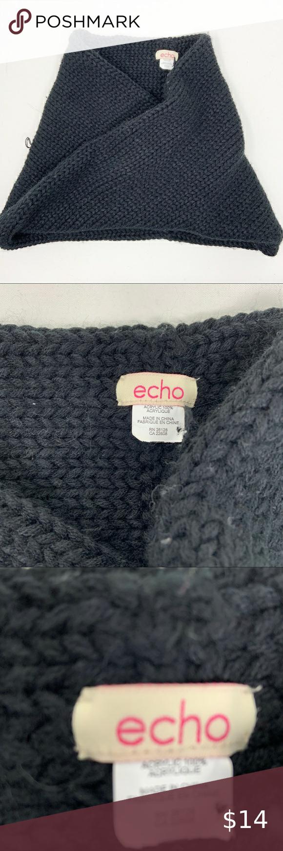 Photo of Echo Acrylic Black Knit Scarf Echo Acrylic Black Knit Scarf  Cozy! Infinity scar…