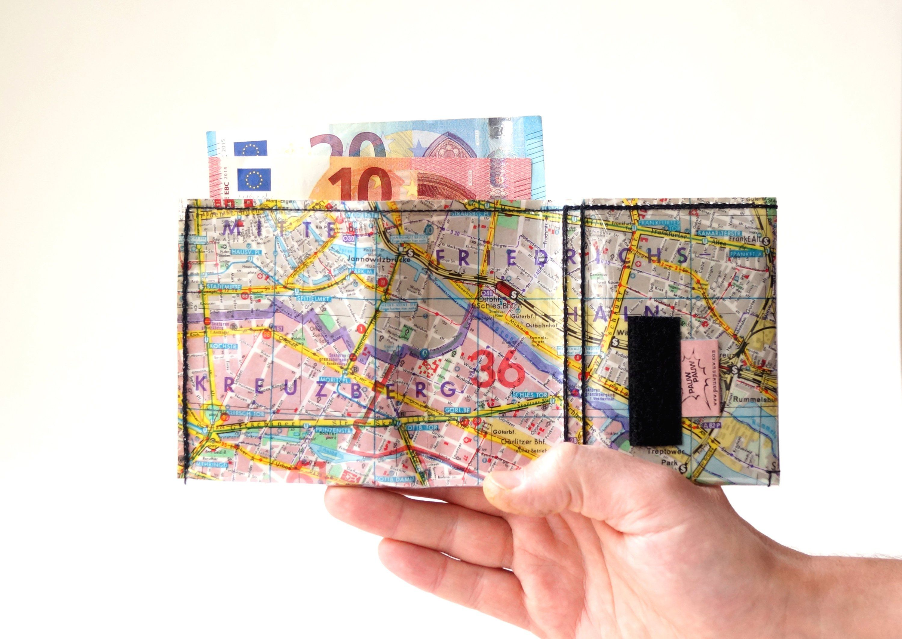 Berlin Center Kreuzberg City Map Wallet Upcycling On Off