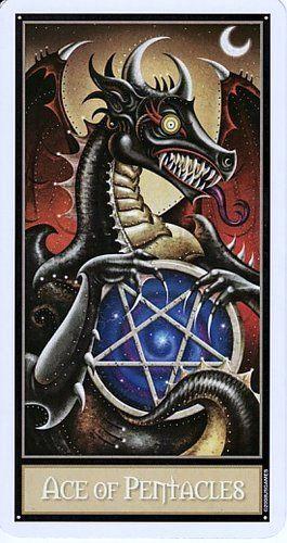 The Deviant Moon Tarot- The Ace Of Pentacles   Tarot