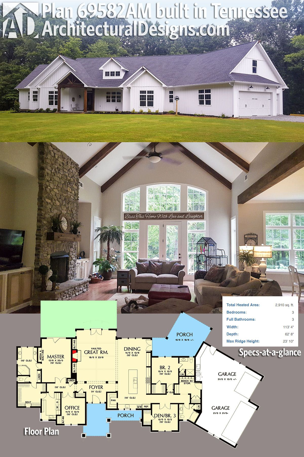 Our Client Built Architectural Designs House Plan 69582AM In Tennessee With  Board And Batten Siding Giving
