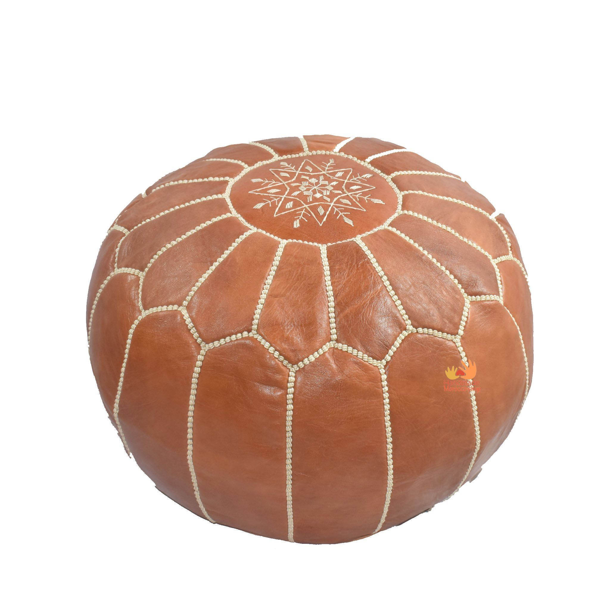 Premium Luxe Moroccan Leather Ottoman Pouffe Pouf Footstool In Tan