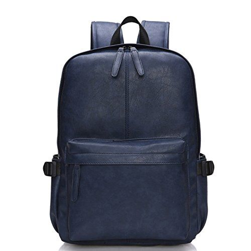 Nutexrol Vintage Casual Pu Soft Pocket Leather Backpack Unisex School Laptop Daypack College Computer Bookbag For Travel Rucksack Navy ** Read more reviews of the product by visiting the link on the image.