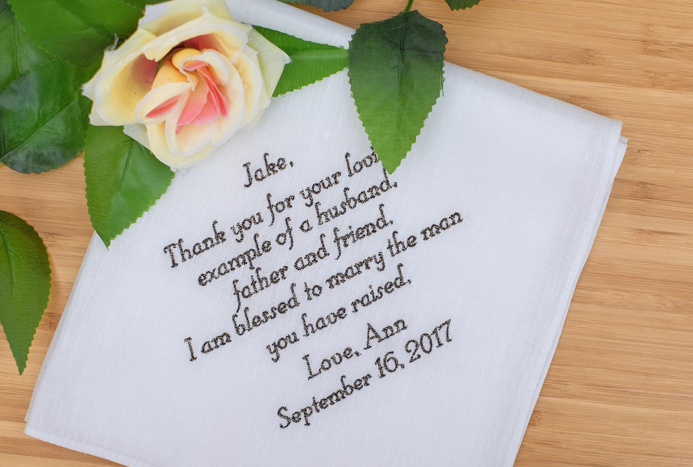 Father of the groom handkerchief custom handkerchief
