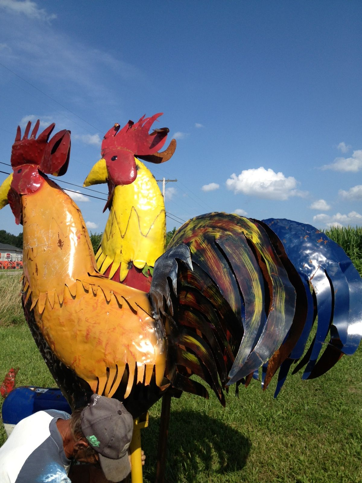 77 Big Colorful Metal Rooster Large Yard Art Chicken Sculpture