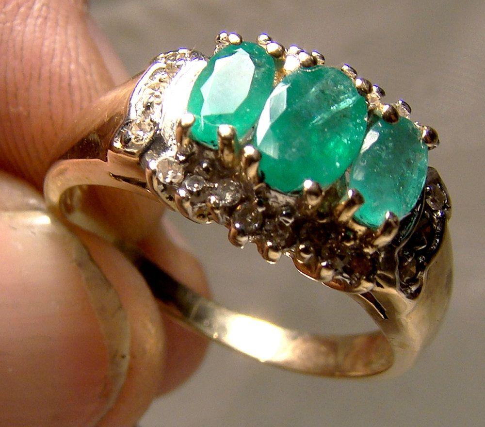 Size 6.5 Vintage Diamond /& Emerald Ring 10k Gold