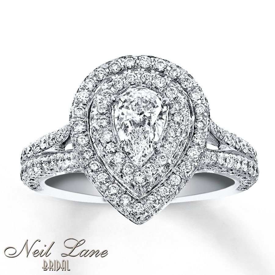 Dream Engagement Rings · Neil Lane Pear Double Halo White Gold Kay  Jewelers This One
