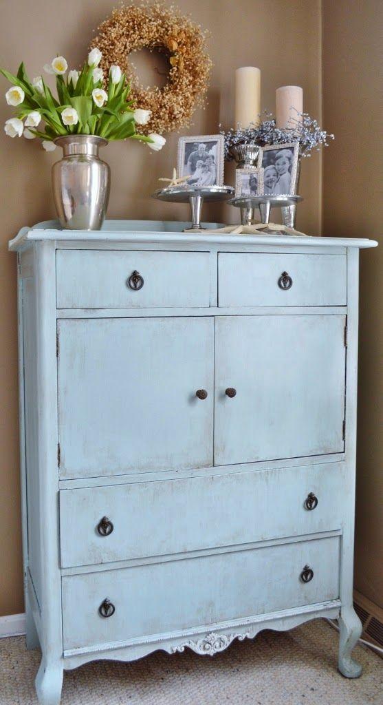 Blue Ribbon Kitchen Caribbean Winter Blues Antique Dresser Makeover Vintage Dressers Rustic Painted