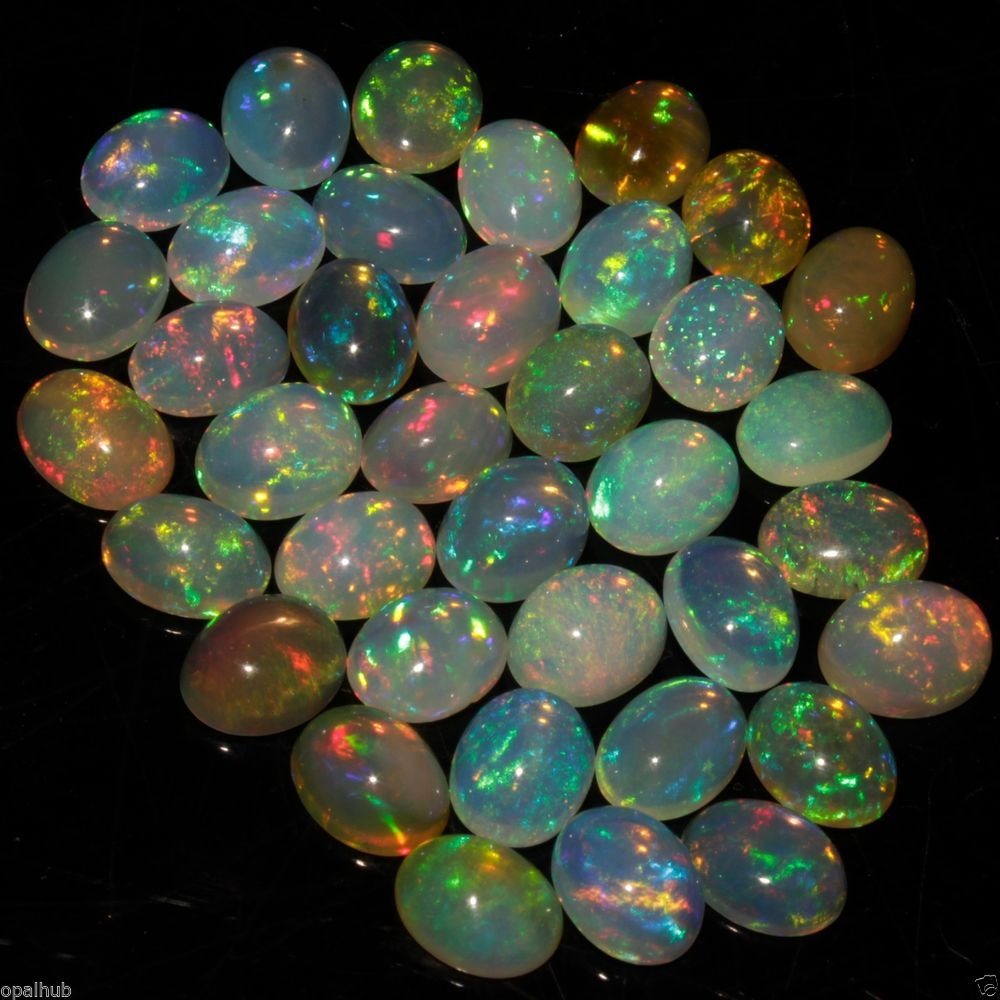 4X6 MM ! CALIBRATED NATURAL ETHIOPIAN OPAL OVAL SHAPE CABOCHON MULTI COLORED