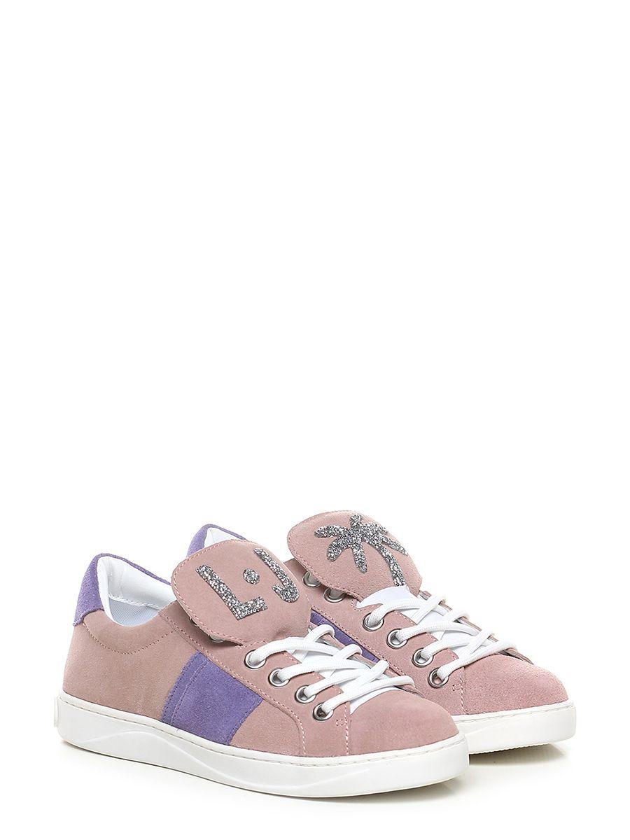 1f84b1fa7d ... Le Follie Shop. Sneaker in camoscio con logo e strass su linguetta.  suola in gomma, tacco 25
