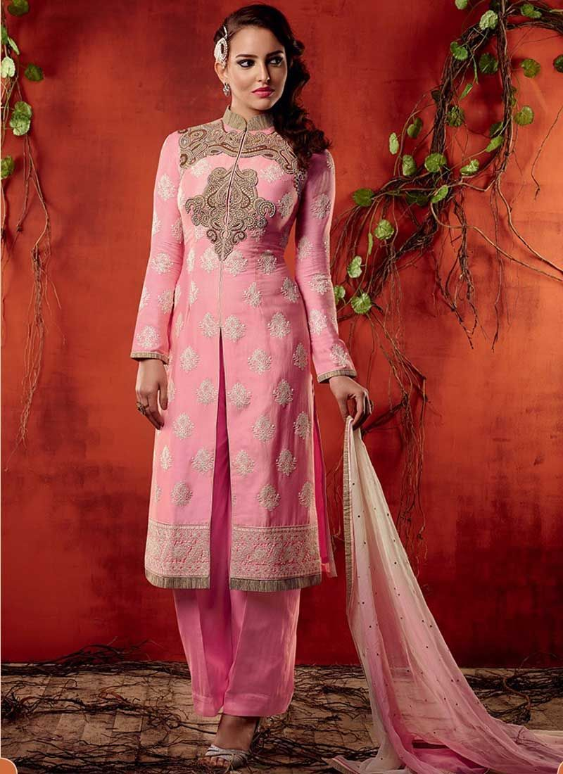 Alluring pink embroidery work cotton satin pakistani suit all