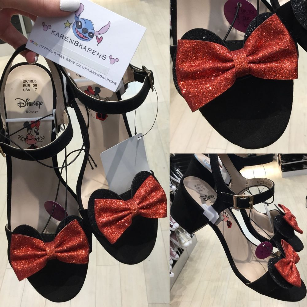 ed047ef9c Primark DISNEY MINNIE MOUSE Black Glitter Low Heels Red Bow Shoes ...