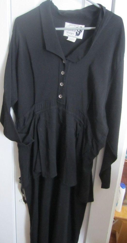 Vtg JEANNE ENGELHART LONG BLACK DRESS Size L STEAMPUNK/GOTH/BOHEMIAN STEVIE NICK #JEANNEENGELHEART #Maxi