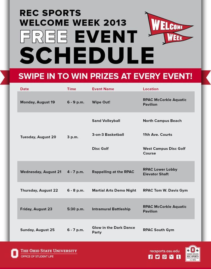 Check out all of the FREE events that Rec Sports is putting on for - event agendas