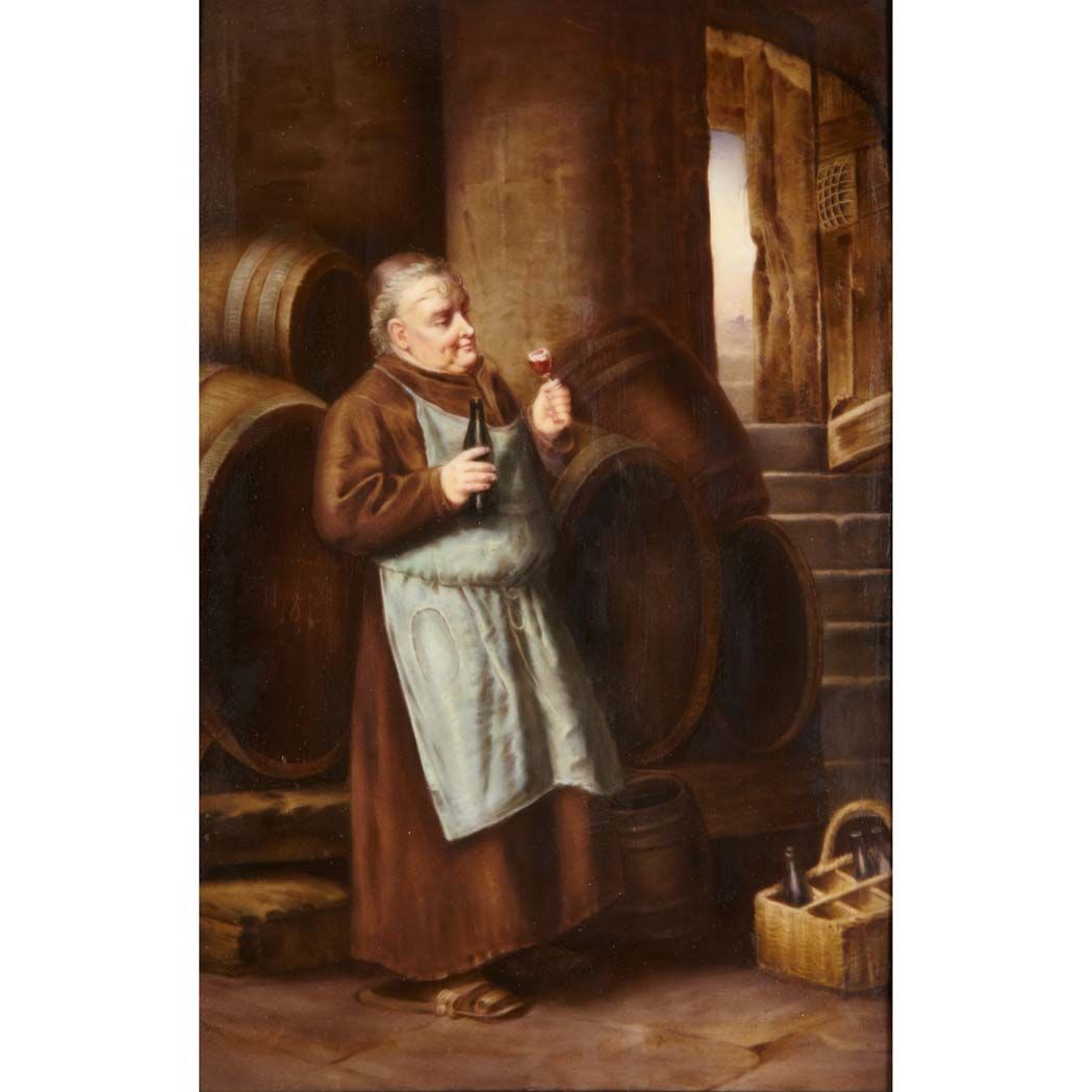 White apron galleria 7 - Kpm Porcelain Plaque A Monk Dressed In A Brown Robe White Apron Sampling A