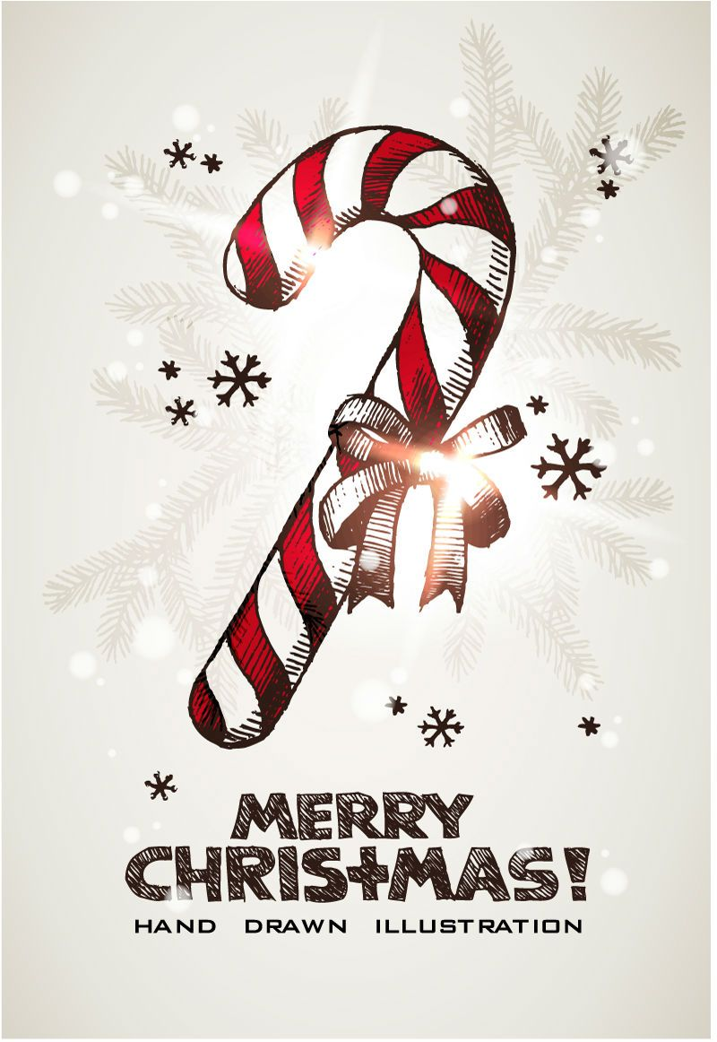 Hand painted candy canes vector material (With images